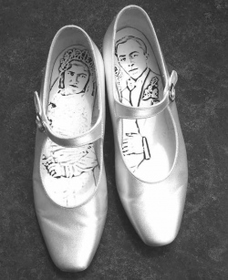 Wedding Shoes, vintage satin shoes with digital print
